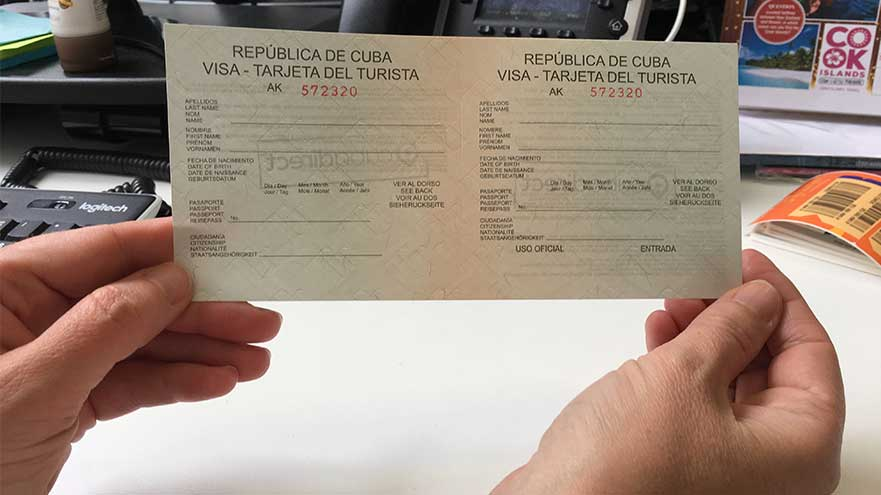 The Cuba tourist card is a slip, not a sticker attached to your passport